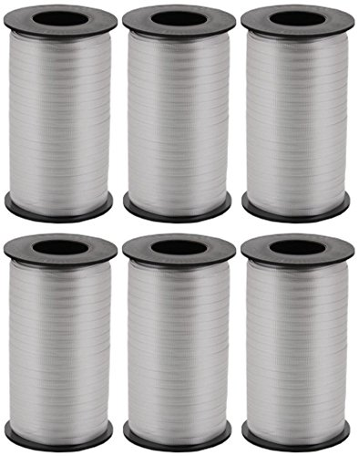 6-Pack - Berwick Splendorette Crimped Curling Ribbon, 3/16-Inch Wide by 500-Yard Spools, Silver by Berwick