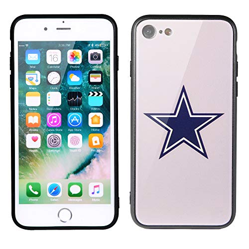 Sportula NFL Phone Case - 9H Tempered Glass Back Cover and Silicone Rubber Bumper Frame Compatible Apple iPhone 8 / iPhone 7 (Dallas ()