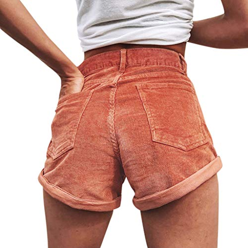 (FarJing Women Summer Casual Solid Sexy Slim Corduroy Short Pants with Pocket(M,Red)