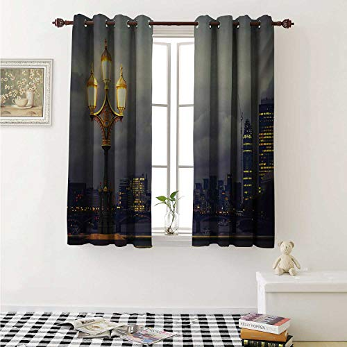 shenglv Night Window Curtain Fabric Westminster Bridge London City UK Stormy Moody Weather European Urban Travel Curtains and Drapes for Living Room W55 x L63 Inch Pale Grey Yellow