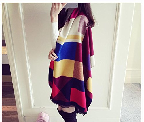 Generic Europe and America spell color double-sided cashmere plaid scarves warm shawl