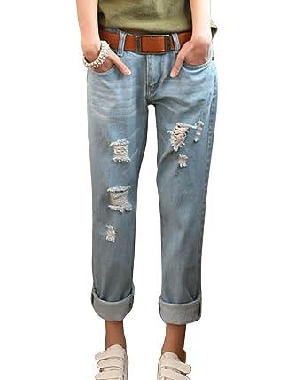 ZhuiKun Mujer Boyfriend Vaqueros Loose Fit Distressed Pantalones Jeans