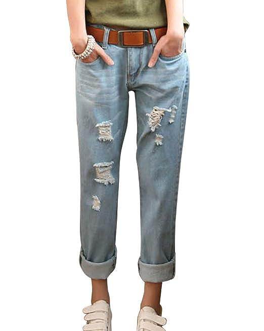 a7295a09c48a ZhuiKun Mujer Boyfriend Vaqueros Loose Fit Distressed Pantalones Jeans:  Amazon.es: Ropa y accesorios