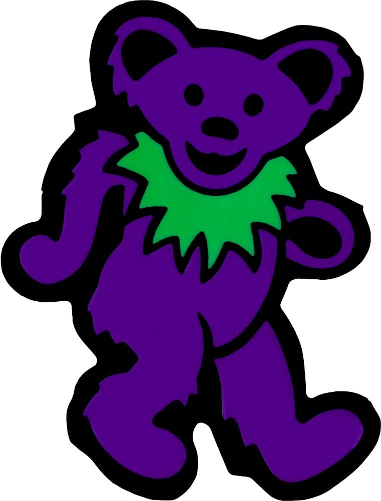 Bumper Sticker Purple with Green Necklace Decal Dancing Bear