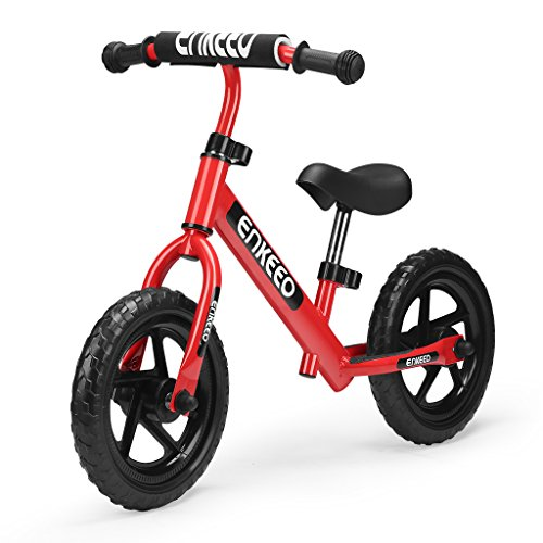 ENKEEO 12 Sport Balance Bike No Pedal Walking Bicycle with Carbon Steel Frame, Adjustable Handlebar and Seat, 110lbs Capacity for Ages 2 to 6 Years Old, Red (Stress Free Bicycle Seat)