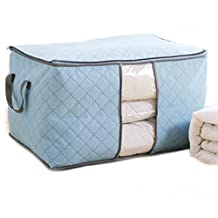 Yosoo 3 Pcs Home Foldable Large Bamboo Charcoal Clothes Quilt Pillow Blanket Storage Zipper Bag Case Container Organizers Container Box (3, Blue)