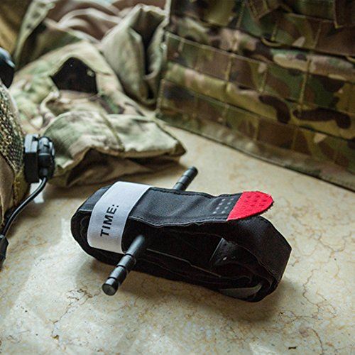 Emergency Tourniquet with Velcro, Outdoor Black Combat Military Tourniquets, One Hand Operation Tourniquet, First Aid and Survival Gear for Army, Hiking, Travel and Emergency, Stop Bleeding Trauma Kit