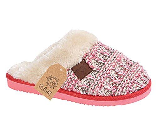 Damen Wicklow Tartan Rand Kunstpelz Slip Auf Maultier-hausschuhe Schuhe Größe Eu 36-41 Pink Knit