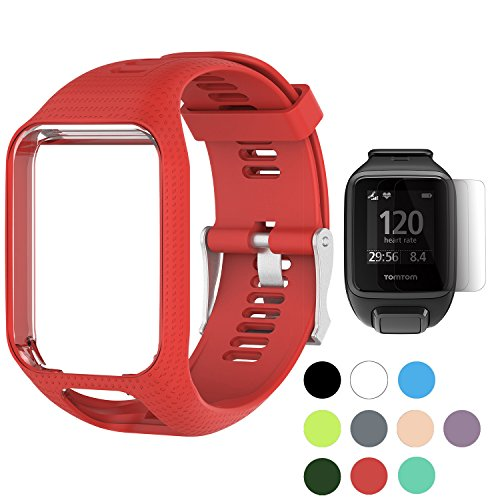 TUSITA WristBand for TomTom Runner 2 3/Spark/Spark 3/Golfer 2/Adventurer, Replacement Silicone Band Strap Accessory (Red)