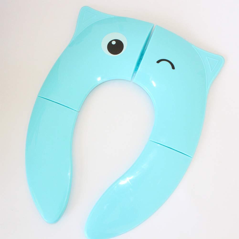PinShang Baby Folding Toilet Seat,Travel Portable Folding Potty Training Toilet Seat Cover Cartoon Pattern Candy Color Toilet Seat Blue owl Big Eyes