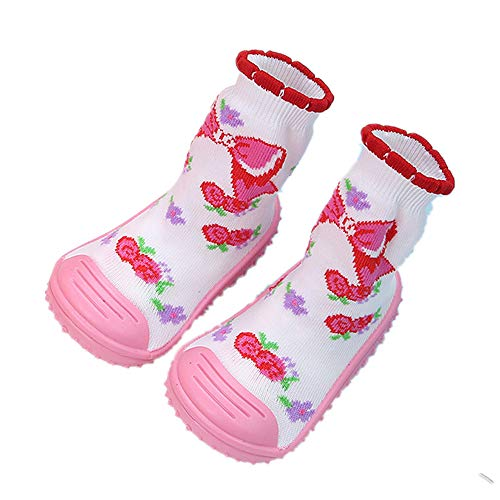 Unisex Baby Socks Shoes Anti Slip Floor Socks with Soft Rubber Bottom Infant Newborn Cotton Sock Boots (Floral Pattern, insole 14cm:18-24M)