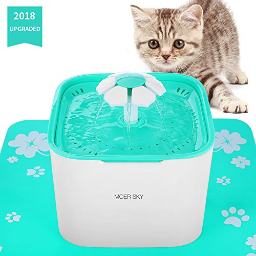 Pet Fountain Cat Water Dispenser-Healthy and Hygienic Drinking Fountain 2L Super Quiet Automatic Water Bowl with Filter and Silicone Mat for Dogs, Cats, Birds and Small Animals (Pet Fountain) (Custom Fountains)