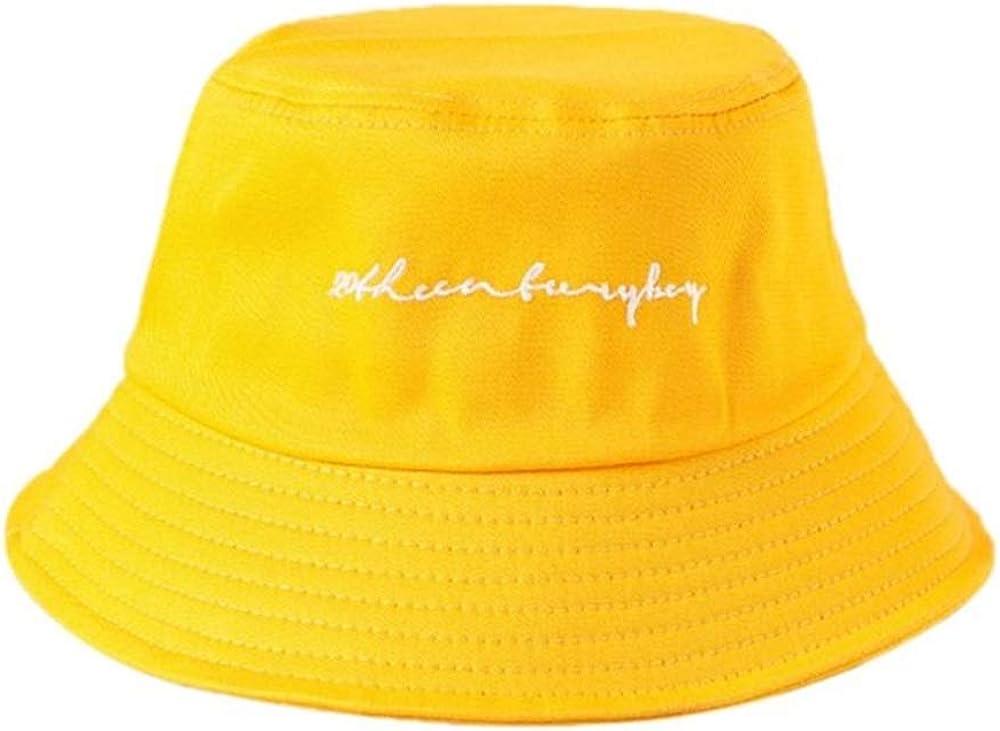 GDYX Berretto 22 Colori Ragazze Divertenti Lettere Ricamate Cappello a Secchiello Largo E Estate e Autunno Tempo Libero Studente Sport Cappello da Pescatore