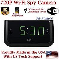 AES 720P WI-FI HD Alarm Clock Radio Spy Camera Wireless IP P2P Covert Hidden Nanny Camera Spy Gadget ( SD CARD & WI-FI MODEL )
