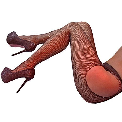 FANCAME Women's Sexy Thigh High Fishnet Stockings Crotchless Pantyhose with Sparkle Rhinestone (M, Rhinestone Black Fishnet Stockings) (Pantyhose High)