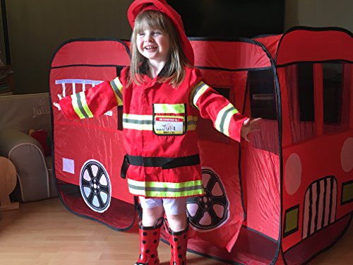 Large Children Fire Engine Truck Pop Up Playhouse Play Tent For Toddlers Boys Girls Kids to Pretend Play Fireman, Can be Used Indoors or Outdoors w/Stakes