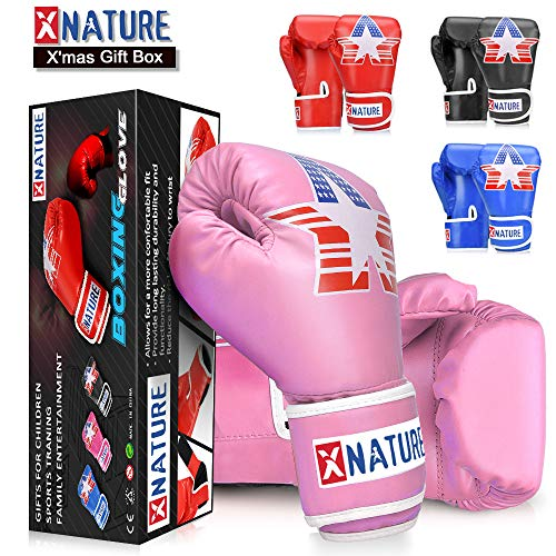 Xnature 4oz 6oz 8oz PU Kids Boxing Gloves w/Gift Box Children Cartoon MMA Kickboxing Sparring Youth Boxing Gloves Training Gloves Age 5-12 Years Pink -