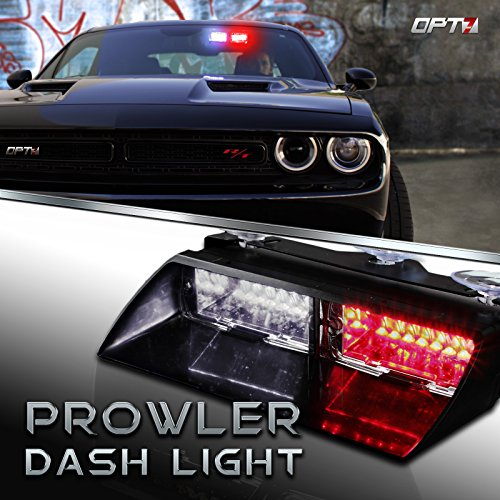 Prowler Emergency Dash Light – True Daytime Visible LED 18 Strobe Patterns for Law Enforcement, Warning, First Response, Fire, Security, and Traffic Control POV Vehicles – 2 Yr Warranty [Red/White]