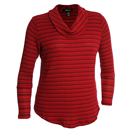 Style & Co. Womens Plus Ribbed Knit Striped Tunic Sweater Red 1X