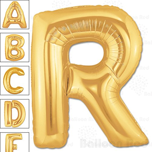 40 Inch Giant Jumbo Helium Foil Mylar Balloons for Party Decorations (Premium Quality), Matte Gold, Letter R]()