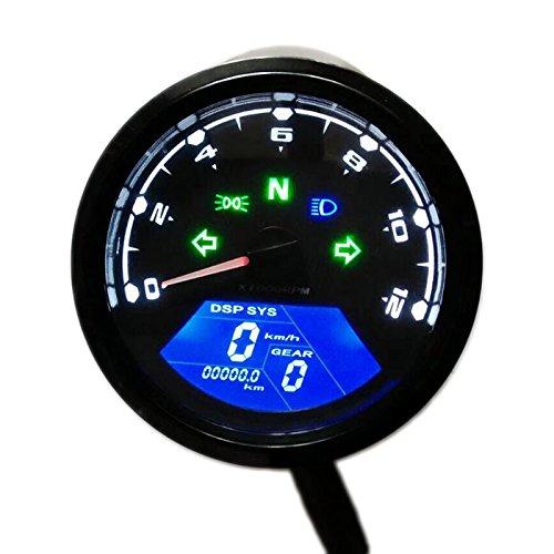 Universal Digital Motorcycle Speedometer Odometer Techometer Gauge Dual Speed LCD Screen for 1-4 Cylinders - 2 Speed Universal Motor