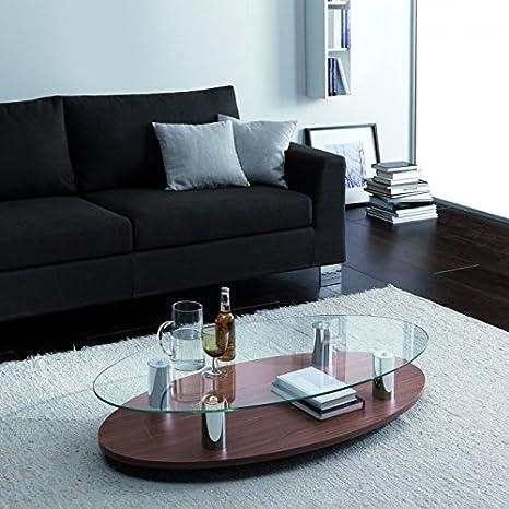 Sun tavolino da salotto in legno e vetro ovale finitura noce ...