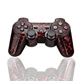PS3 Controller Wireless Bluetooth Six Axis Dualshock Game Controller for Sony PlayStation 3 PS3 (Black-red)