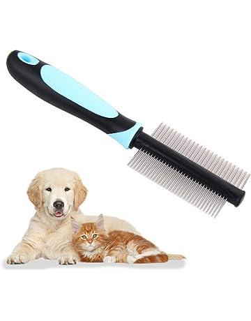 Womdee Peine desenredante para Mascotas de Doble Cara, Peine para masajes de Mascotas con Cepillo