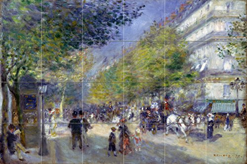Tile Mural Cityscape French the Grands Boulevards trees people by Pierre-Auguste Renoir Kitchen Bathroom Shower Wall Backsplash Splashback 6x4 4.25