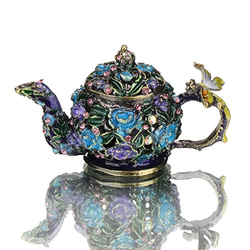 (YUFENG Mini Teapot Trinket Box Hinged For Girls Ring Holder Handmade Ring Holder Dish Decorated)