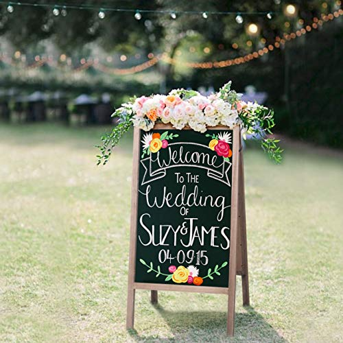 RHF Double Sided Chalk Board Sign,Sidewalk Sign,Sandwich Chalkboards,Rustic Freestanding A-Frame Wedding Decoration,Non-Porous Message, Chalkboard Easel,Store Display Sign Blackboard 40