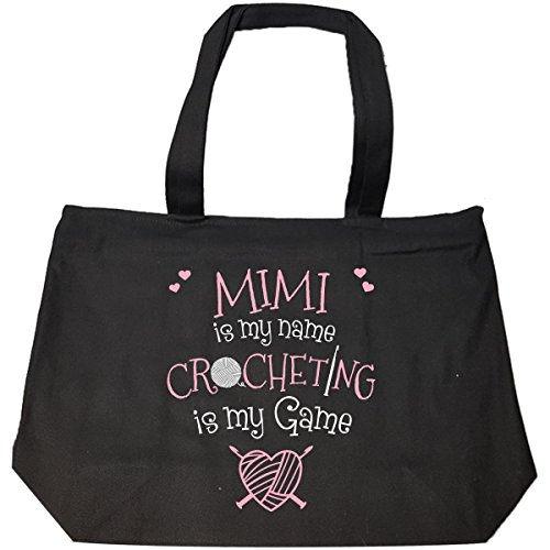 Mimi Is My Name Crocheting Is My Game Crocheter Gift - Tote Bag With Zip