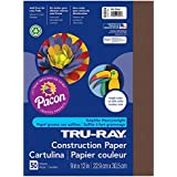 Pacon Tru-Ray Construction Paper, 9-Inches by 12-Inches, 50-Count, Dark Brown (103024)