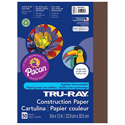 Brown Construction Paper (Pacon Tru-Ray Construction Paper, 9-Inches by 12-Inches, 50-Count, Dark Brown (103024))