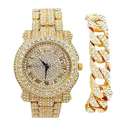 (Bling-ed Out Round Luxury Mens Watch w/Bling-ed Out Cuban Bracelet - L0504B - Cuban Gold )