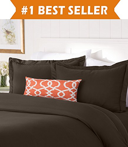 Elegant Comfort #1 Best Bedding Duvet Cover Set! 1500 Thread Count Egyptian Quality Luxurious Silky-Soft Wrinkle Free 3-Piece Duvet Cover Set, Full/Queen, Chocolate Brown