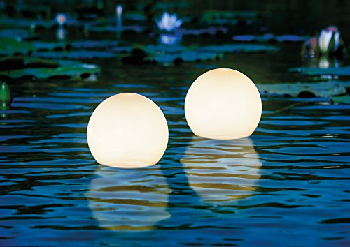Schwimmfähiges Solar Leuchtkugel 2er Set 15cm Durchmesser