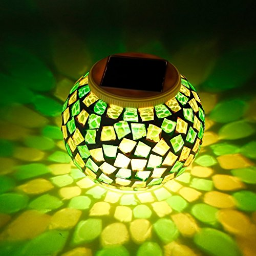 LESHP Color Changing Solar Powered Glass Ball Light, Bright Led Table Garden Lamps Lights with Multi-functional 2 Lighting Mode for Christmas, Decorations, Gifts, Home Outdoor Lawn Yard Storing Net Christmas Lights
