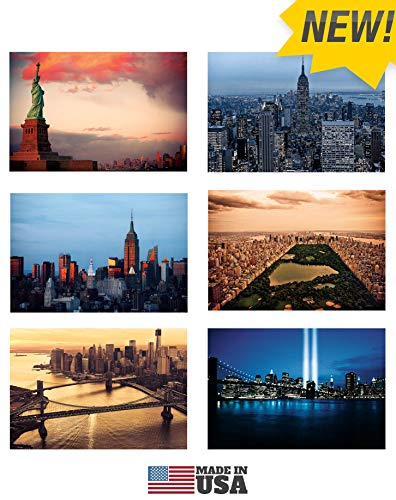 New York Postcards Set of 30 Styles #2. Collectible Edition of New York Souvenirs Post Cards 4 x 6 of NY Landmarks, Skylines and Aerial Views. Made in USA