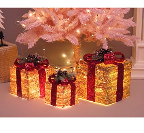 Coen Houteman Gift Box Silhouette with 35 Warm White LED Lights and Christmas Decoration,Glitter Gift Box,Christmas Tree Ornament Set of 3