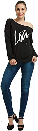 Fashion Lips Print Off Shoulder Long Sleeve Sweatshirt Loos Tops for Women