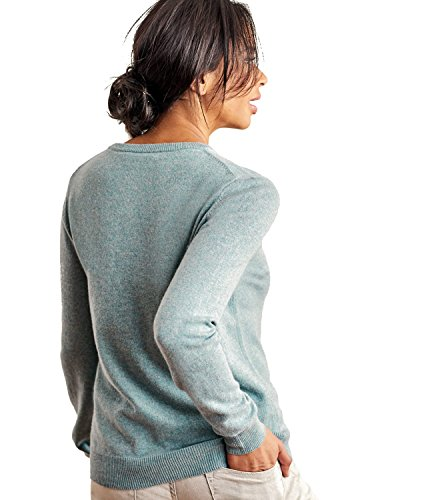 WoolOvers Pull à col rond - Femme - Cachemire & Mérinos Frosted Green, XL