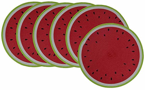 GinsonWare Set 6, 15 Inches PE Round Woven Place mats W/Fruit Designs. (Watermelon) (Placemats Summer)