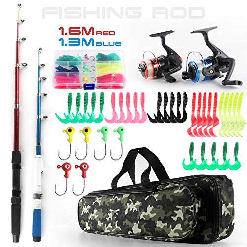 Fishing Rod and Reel Combos Telescopic Fishing Pole Spinning Reels Full Kit, 1.3M & 1.6M Fishing Rods + 2PCS Spinning Reels + Lures Hooks + Fishing Bag, Travel Fishing Kit for Kids Family Beginners