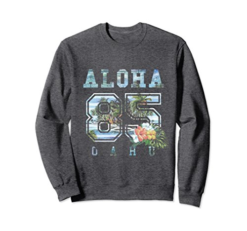 Unisex Oahu Sweatshirt Retro Sunset Adult Kids Teens Waikiki Beach Medium Dark Heather