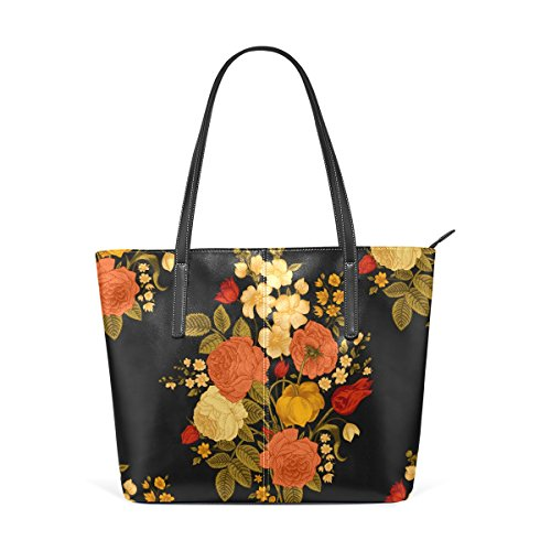 Handle Bags Top Flower Purses TIZORAX Women's Luxury Shoulder Leather Handbag Totes PU Fashion fR4RZw6q