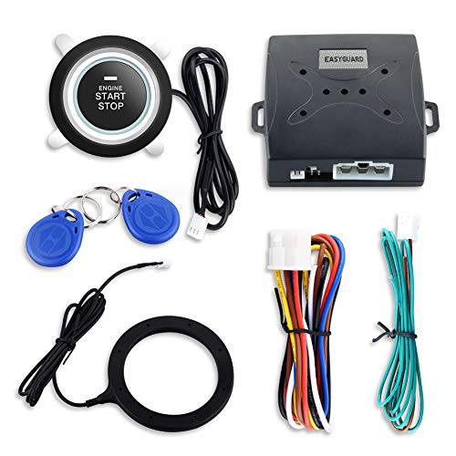 EASYGUARD EC004 Smart Rfid Car Alarm system Push Engine Start stop button & Keyless Go System Fits for most DC12V cars by EASYGUARD