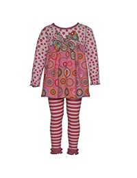 Baxter & Beatrice Little Girls Pink Circle Dot Stripe Designer Legging Set 2T-6X