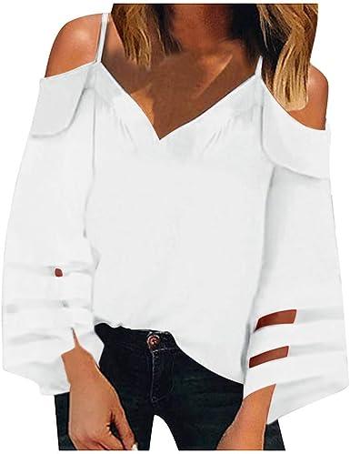 Luckycat Camiseta para Mujer Verano Camisas de Hombro Frío Blusas Tops Chaleco de Manga Corta Túnica Tops Casual Camiseta de Tirantes para Mujer Señoras Blusa Sólida Correa Suelta: Amazon.es: Ropa y accesorios