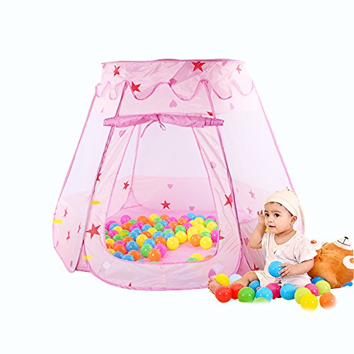 Kids Princess Play Tent Foldable Popup Balls House for Children Indoor and Outdoor (Pink, 47 * 35 Inch)